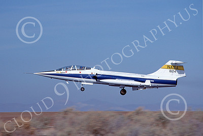 NASA-TF-104 00008 A landing Lockheed TF-104 Starfighter NASA 824 Edwards AFB 12-1982 airplane picture by Michael Grove, Sr
