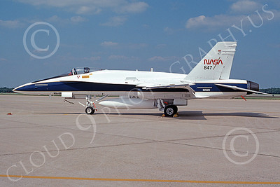 NASA-F-18 00005 A static McDonnell Douglas F-18A Hornet NASA 847 161520 5-1993 airplane picture by Charles Cooper