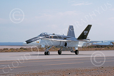 NASA-F-18 00007 A taxing black and white McDonnell Douglas F-18A Hornet NASA 840 Edwards AFB 10-1992 airplane picture by Julian Hill