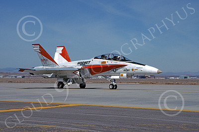 NASA-F-18 00009 A taxing red and white McDonnell Douglas F-18B Hornet NASA 845 Edwards AFB 5-1990 airplane picture by Ben Ashcraft