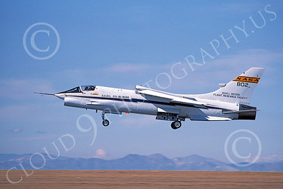NASA-F-8 00004 A landing NASA Vought F-8 Crusader 802 Edwards AFB 3-1985, by Michael Grove, Sr