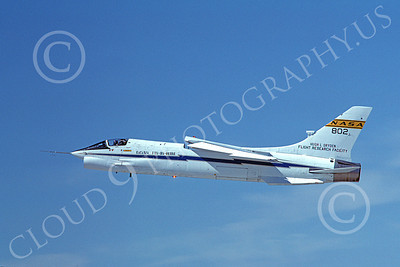 NASA-F-8 00006 A flying NASA Vought F-8 Crusader 802 3-1985 airplane picture by Michael Grove, Sr