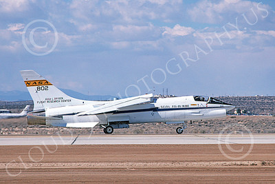 NASA-F-8 00005 A taxing NASA Vought F-8 Crusader Edwards AFB 4-1981 airplane picture by Michael Grove, Sr