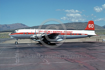 FF-DC-7 00003 A static Douglas DC-7 Nevada-BLM Sierra Front N8380 Stead 9-91 fire fighting airplane picture by Peter B Lewis