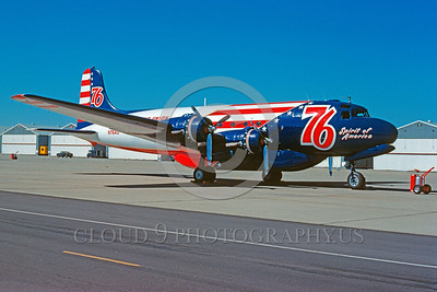 FF-DC-4 00001 A static Douglas DC-4 Aero Union SPIRIT OF AMERICA Beale AFB 7-1976 fire fighting airplane picture by Peter B Lewis