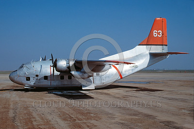 FF-C-123 00001 A static Fairchild C-123 Provider N3142D fire fighting airplane picture 1-1989 by Peter B Lewis