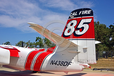 FF-S-2 00023 A quarter rear tight crop view of the tail of a static Grumman S-2 Tracker ex-anti-submarine warfare airplane now Cal Fire 85 Santa Rosa 8-2015 fire fighting airplane picture by Peter J Mancus