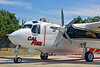 FF-S-2 00029 A quarter front view of a static Grumman S-2 Tracker ex-anti-submarine warfare airplane now Cal Fire 85 Santa Rosa 8-2015 fire fighting airplane picture by Peter J Mancus