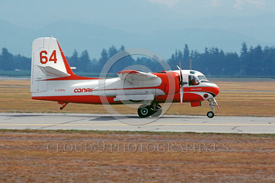 FF-S-2 00035 A taxing piston powered Grumman S-2 Tracker Conair C-FOPU Abottsford 3-1990 fire fighting airplane picture by Peter J Mancus
