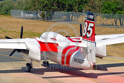 FF-S-2 00009 An elevated quarter rear view of a static Grumman S-2 Tracker ex-anti-submarine warfare airplane now Cal Fire 85 Santa Rosa 8-2015 fire fighting airplane picture by Peter J Mancus