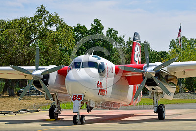 FF-S-2 00027 A quarter front view of a static Grumman S-2 Tracker ex-anti-submarine warfare airplane now Cal Fire 85 Santa Rosa 8-2015 fire fighting airplane picture by Peter J Mancus