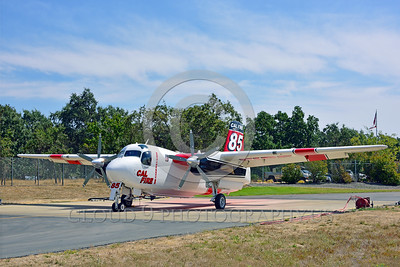 FF-S-2 00021 A quarter front view of a static Grumman S-2 Tracker ex-anti-submarine warfare airplane now Cal Fire 85 Santa Rosa 8-2015 fire fighting airplane picture by Peter J Mancus