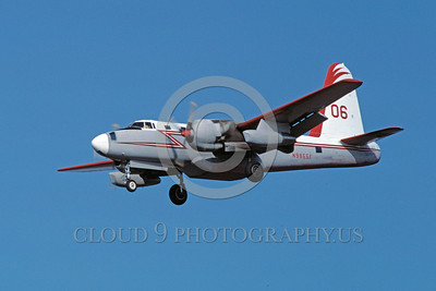 FF-P-2 00002 A landing Lockheed P-2 Neptune N9855F fire fighting airplane picture 8-1987 by Peter B Lewis