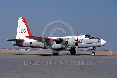 FF-P-2 00003 A taxing Lockheed P-2 Neptune N9855F fire fighting airplane picture 8-1990 by Peter B Lewis