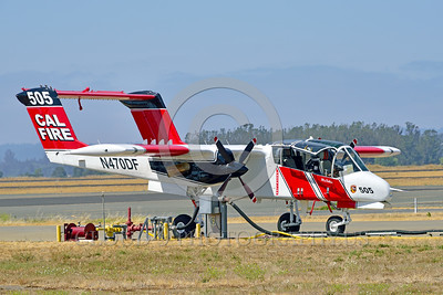 FF-OV-10 00027 A quarter front view of a static North American OV-10 Bronco Cal Fire 505 N470DF McClellan at Santa Rosa fire fighting airplane picture by Peter J Mancus