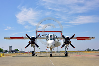 FF-OV-10 00011 A front view of a static North American OV-10 Bronco Cal Fire 505 N470DF McClellan at Santa Rosa fire fighting airplane picture by Peter J Mancus