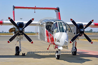 FF-OV-10 00023 A quarter front view of a static North American OV-10 Bronco Cal Fire 505 N470DF McClellan at Santa Rosa fire fighting airplane picture by Peter J Mancus