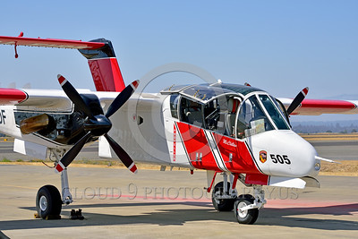 FF-OV-10 00015 A quarter front view of a static North American OV-10 Bronco Cal Fire 505 N470DF McClellan at Santa Rosa fire fighting airplane picture by Peter J Mancus