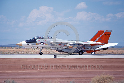 NASA-F-14 00005 A heavily armed NASA Grumman F-14 Tomcat jet fighter rolls out on Edwards AFB's runway 8-1982 NASA airplane picture by Michael Grove, Sr
