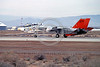 NASA-F-14 00001 A Grumman F-14 Tomcat jet fighter NASA 991 rolls out after landing at Edwards AFB 1-1983 NASA airplane picture by Michael Grove, Sr
