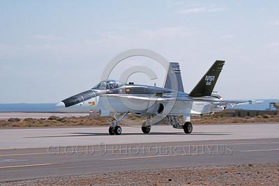 NASA-F-18 00007 A taxing black and white McDonnell Douglas F-18A Hornet NASA 840 Edwards AFB 10-1992 NASA airplane picture by Julian Hill