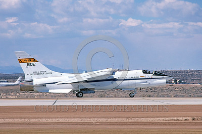 NASA-F-8 00003 A taxing NASA Vought F-8 Crusader Edwards AFB 4-1981 military airplane picture by Michael Grove, Sr