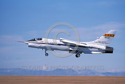 NASA-F-8 00002 A landing NASA Vought F-8 Crusader 802 Edwards AFB 3-1985 military airplane picture by Michael Grove, Sr