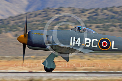 Race Airplane Argonaut 00027 Hawker Sea Fury Argonaut N19SF race airplane at Reno air races by Peter J Mancus