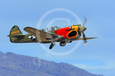 Race Airplane Parott Head 00008 Curtiss P-40 Warhawk Parott Head NL1195N at Reno air races by Peter J Mancus