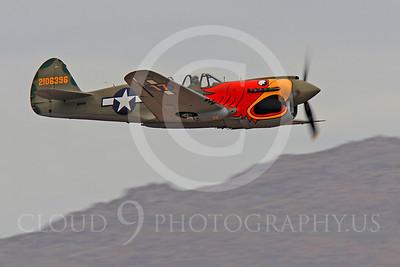 Race Airplane Parott Head 00018 Curtiss P-40 Warhawk Parott Head NL1195N at Reno air races by Peter J Mancus