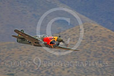 Race Airplane Parott Head 00022 Curtiss P-40 Warhawk Parott Head NL1195N at Reno air races by Peter J Mancus