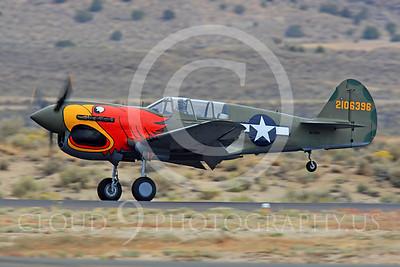 Race Airplane Parott Head 00001 Curtiss P-40 Warhawk Parott Head NL1195N at Reno air races by Peter J Mancus
