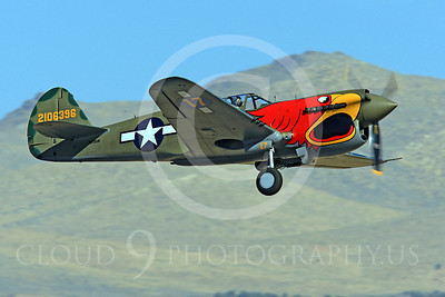 Race Airplane Parott Head 00015 Curtiss P-40 Warhawk Parott Head NL1195N at Reno air races by Peter J Mancus