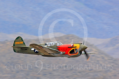 Race Airplane Parott Head 00004 Curtiss P-40 Warhawk Parott Head NL1195N at Reno air races by Peter J Mancus