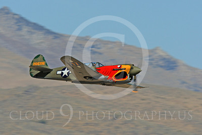 Race Airplane Parott Head 00016 Curtiss P-40 Warhawk Parott Head NL1195N at Reno air races by Peter J Mancus