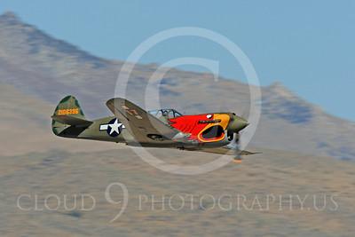 Race Airplane Parott Head 00016 Curtiss P-40 Warhawk Parott Head NL1195N at Reno air races by Peter J Mancus