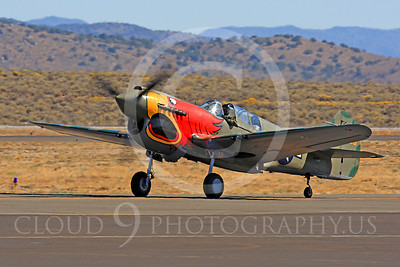 Race Airplane Parott Head 00007 Curtiss P-40 Warhawk Parott Head NL1195N at Reno air races by Peter J Mancus