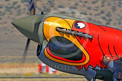Race Airplane Parott Head 00003 Curtiss P-40 Warhawk Parott Head NL1195N at Reno air races by Peter J Mancus