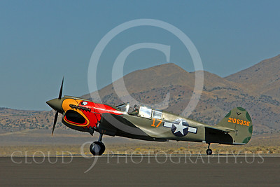 Race Airplane Parott Head 00005 Curtiss P-40 Warhawk Parott Head NL1195N at Reno air races by Peter J Mancus