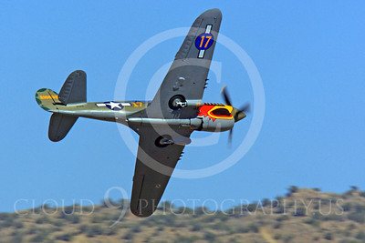Race Airplane Parott Head 00010 Curtiss P-40 Warhawk Parott Head NL1195N at Reno air races by Peter J Mancus