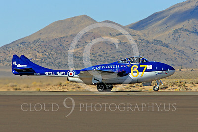 Race Airplane Vampire XG775 00001 de Havilland Vampire XG775 air racing plane at Reno air races by Peter J Mancus