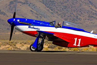 Race Airplane Miss America 00013 North American P-51 Mustang Miss America N991R at Reno air races by Peter J Mancus