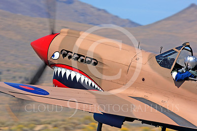 Race Airplane P-40 Flying Tiger 00007 Curtiss P-40 Flying Tiger NX94466 air racing plane at Reno air races by Peter J Mancus