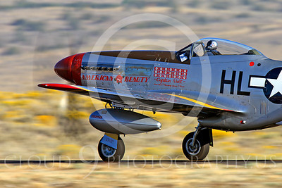 Race Airplane American Beauty 00027 North American P-51 Mustang race airplane American Beauty at Reno air races by Peter J Mancus