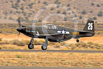 Race Airplane Polar Bear 00035 North American P-51 Mustang race airplane Polar Bear N51Z at Reno air races by Peter J Mancus