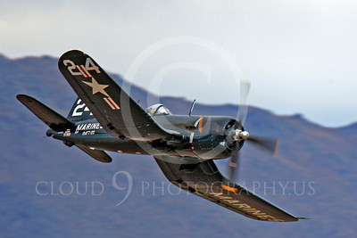 Race Airplane F4U Corsair 00046 Vought F4U Corsair NX240CA at Reno air races by Peter J Mancus