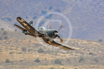 Race Airplane F4U Corsair 00038 Vought F4U Corsair NX240CA at Reno air races by Peter J Mancus