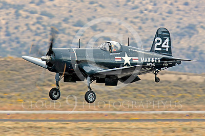 Race Airplane F4U Corsair 00033 Vought F4U Corsair NX240CA at Reno air races by Peter J Mancus