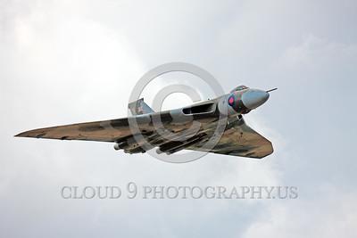 WB-Vulcan 00026 A flying Avro Vulcan British RAF Cold War era jet-powered delta wing strategic bomber XH558 warbird picture by Peter J  Mancus