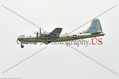 """WB-B-29  0073 A Boeing B-29 Superfortress warbird, """"DOC"""", 469972, landing at 2018 Thunder Over Michigan airshow, by Peter J  Mancus     851_1322     DWT"""